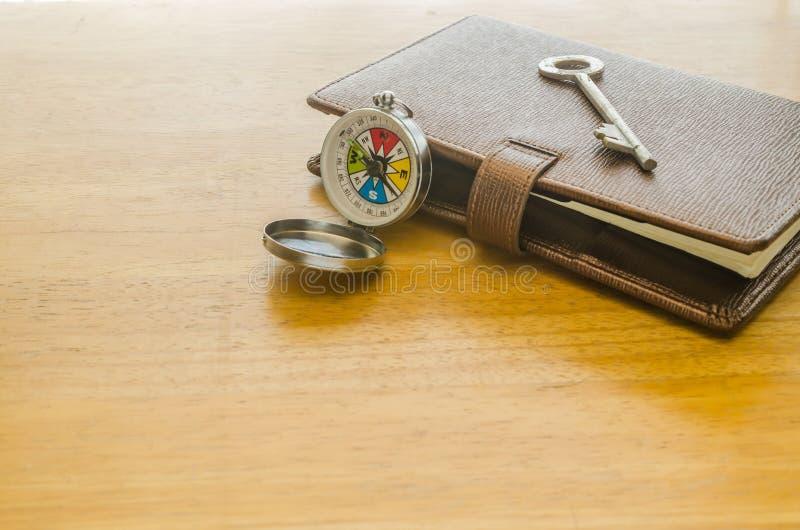 Boussole et organisateur en cuir brun avec la clé images stock