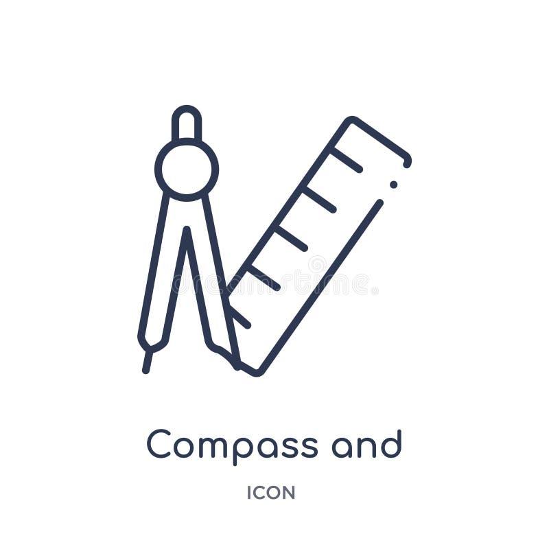 boussole et règle pour l'icône de mathématiques de la collection d'ensemble d'outils et d'ustensiles Ligne mince boussole et règl illustration de vecteur