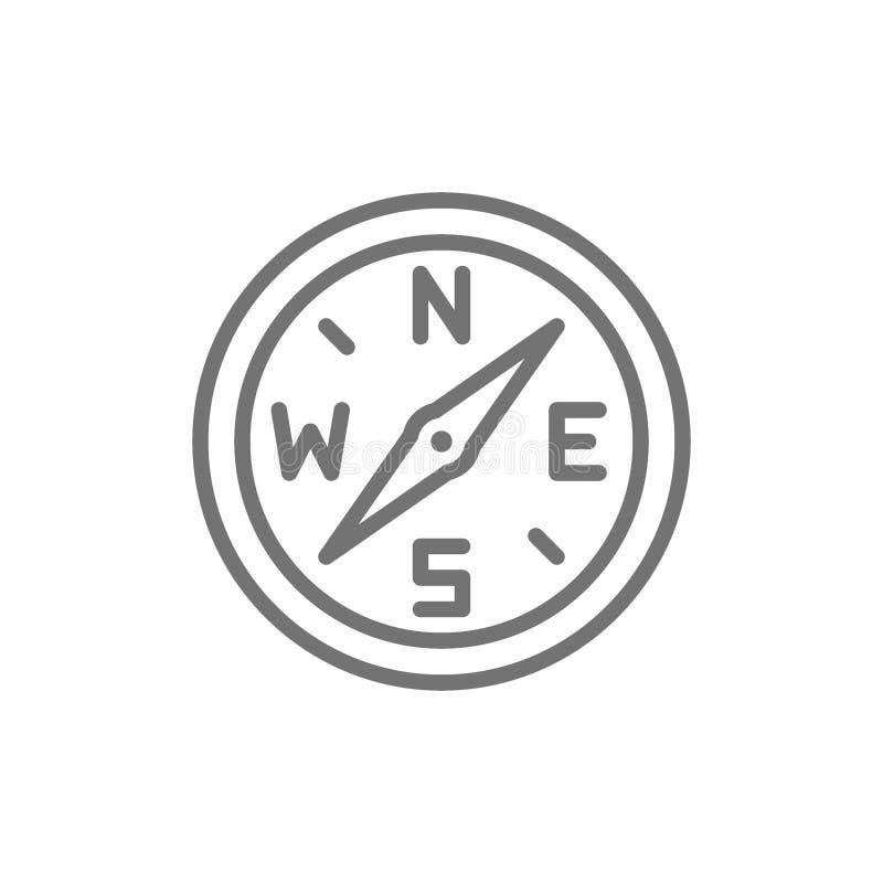 Boussole, ligne icône de navigation D'isolement sur le fond blanc illustration libre de droits