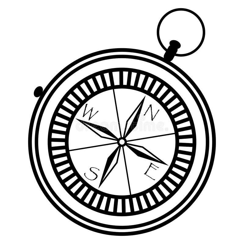 Boussole nautique simple montrant des directions : occidental, est, du sud, nord en noir et blanc dans le pointe monochrome géomé illustration stock