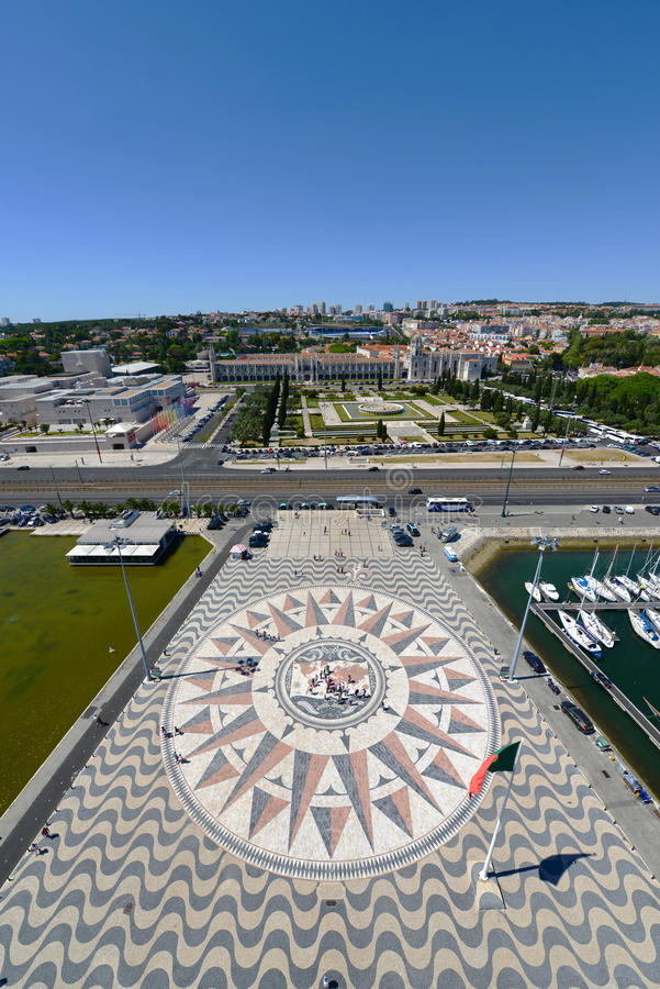 Boussole Rose et Mappa Mundi, Belem, Lisbonne, Portugal image stock