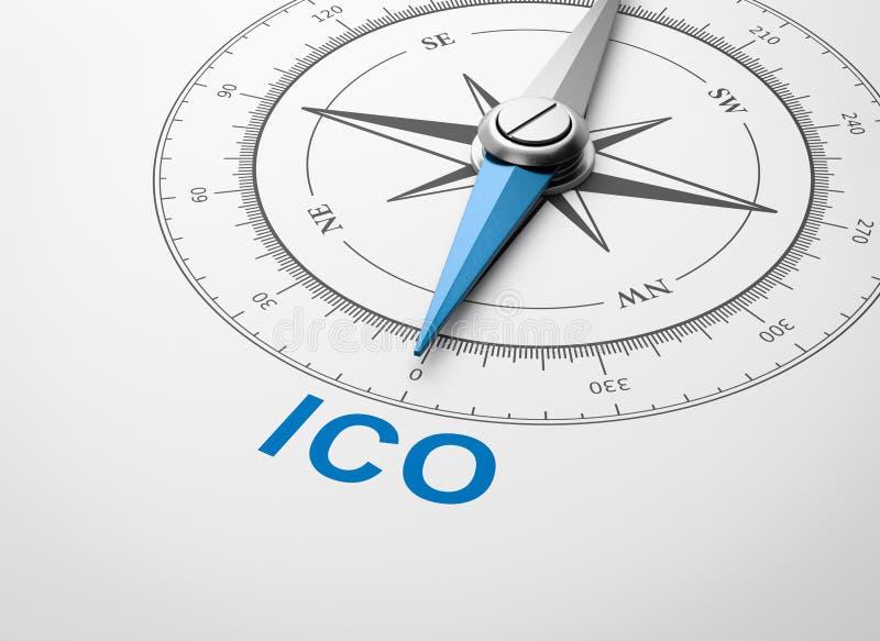 Boussole sur le fond blanc, concept de offre de pièce de monnaie initiale d'ICO illustration libre de droits