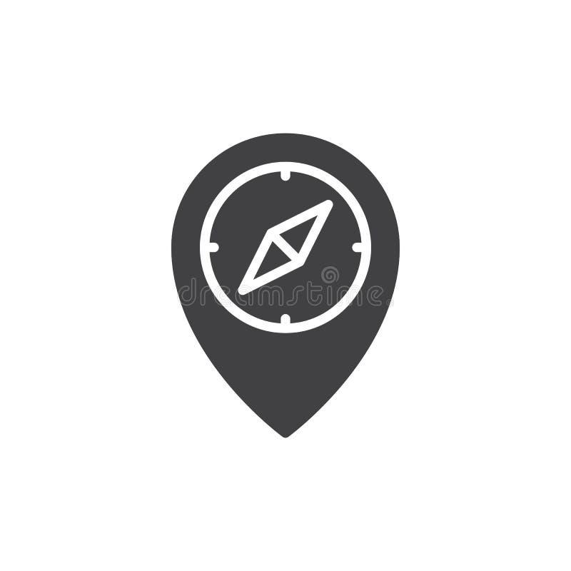 Boussole sur le vecteur d'icône d'indicateur de carte illustration libre de droits