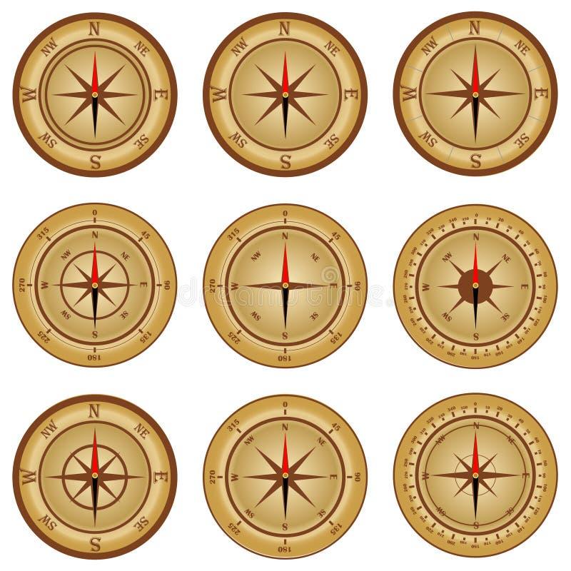 Boussole, un ensemble de boussoles réalistes Graphisme de compas illustration stock