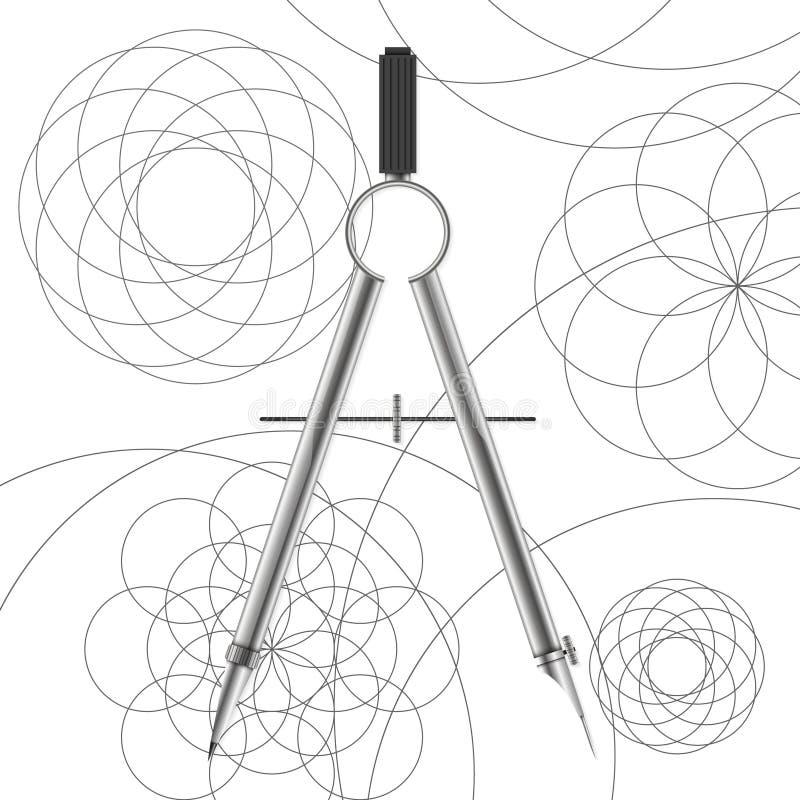 Boussoles de dessin et cercles tirés illustration de vecteur
