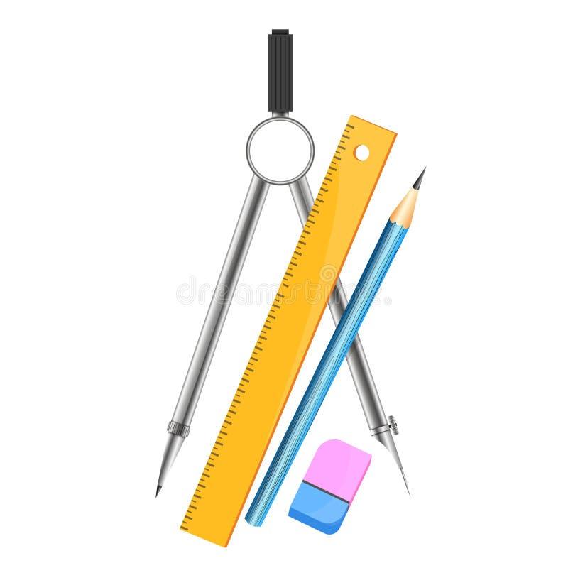 Boussoles pour le dessin, la règle et le crayon illustration stock