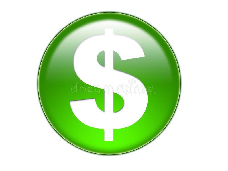 Bout en verre de symbole d'argent du dollar illustration libre de droits