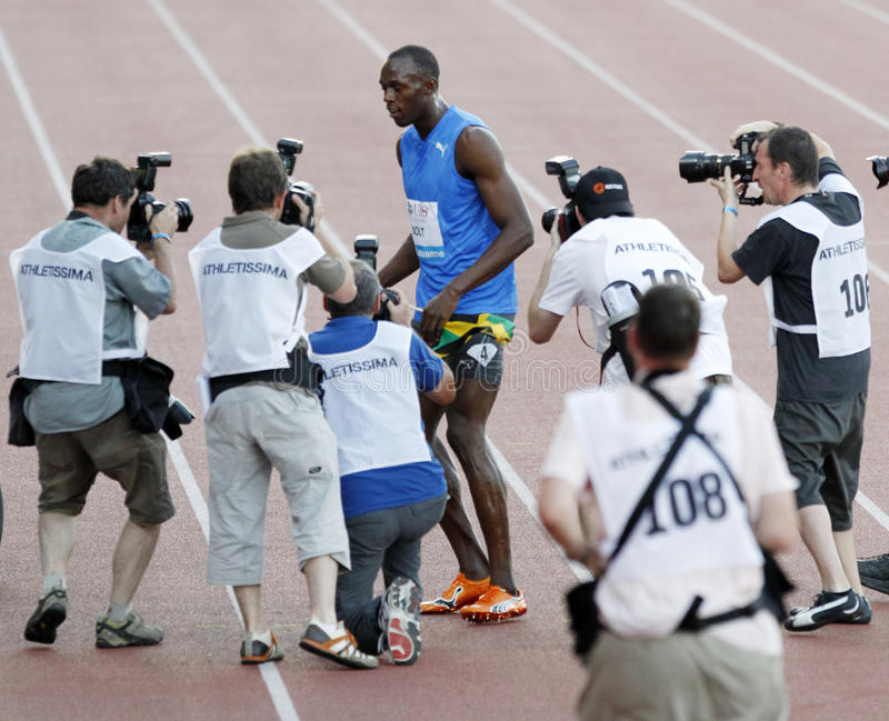 Bout Usain stock afbeelding