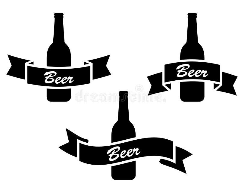Bouteille à bière avec le ruban illustration de vecteur