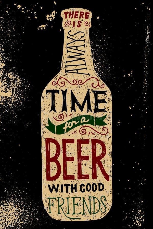 Bouteille à bière avec le type conception illustration de vecteur