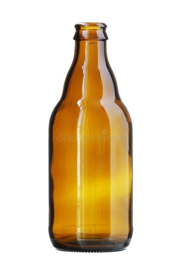 Bouteille à bière courte de Brown d'isolement sur le fond blanc photographie stock