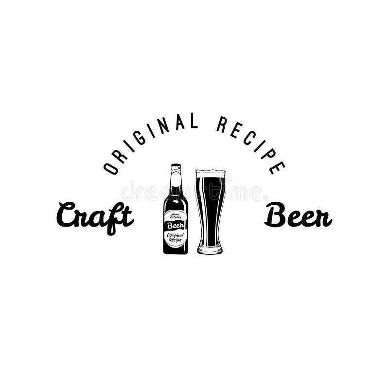 Bouteille à bière de métier, icônes en verre boisson alcoolique Conception de menu de barre, logo de bar Label de brasserie Inscr illustration libre de droits