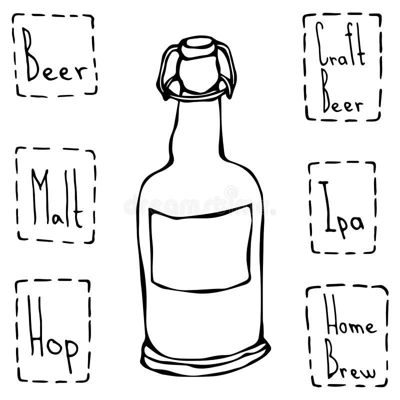 Bouteille à bière de métier Vecteur tiré par la main Illustraition illustration de vecteur