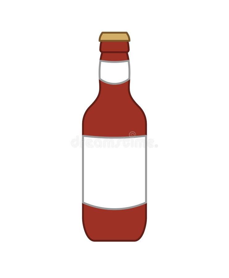 Bouteille à bière foncée d'isolement Illustration de vecteur d'alcool illustration stock