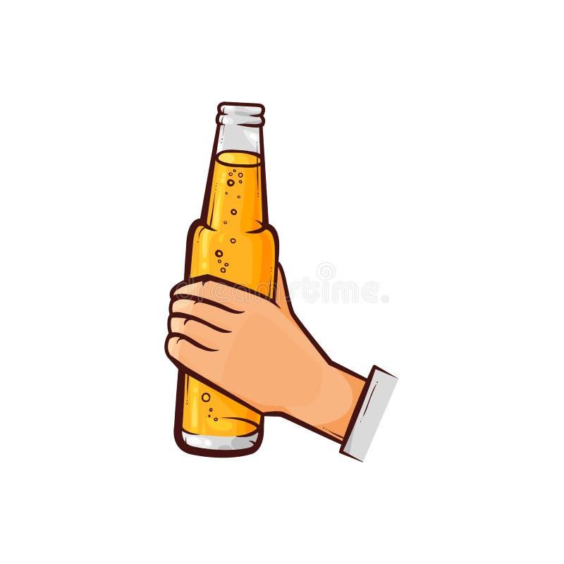 Bouteille à bière ouverte par participation masculine tirée par la main de main illustration libre de droits