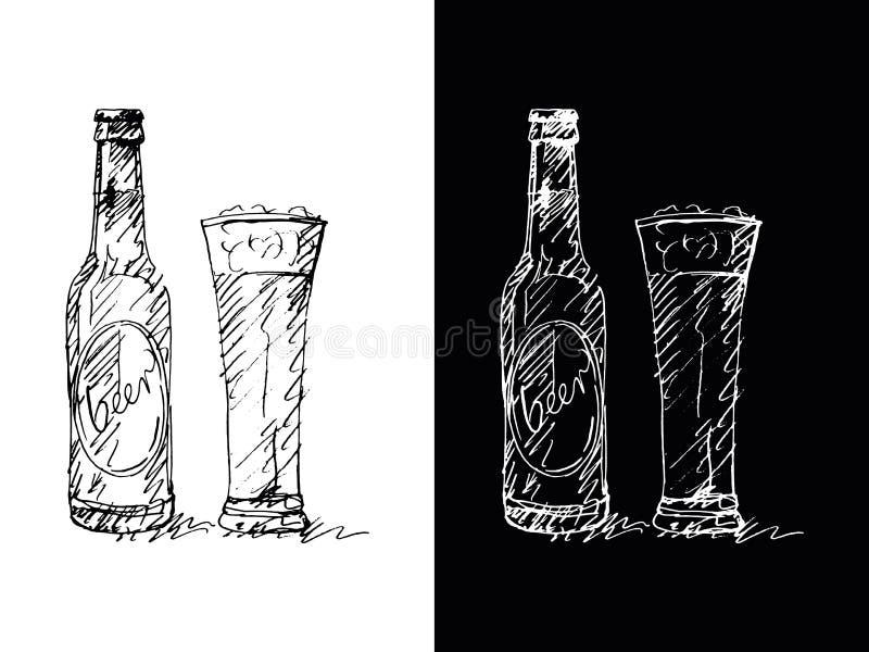 Bouteille à bière - remettez le dessin, vecteur, spontané, énergie, expression photographie stock libre de droits