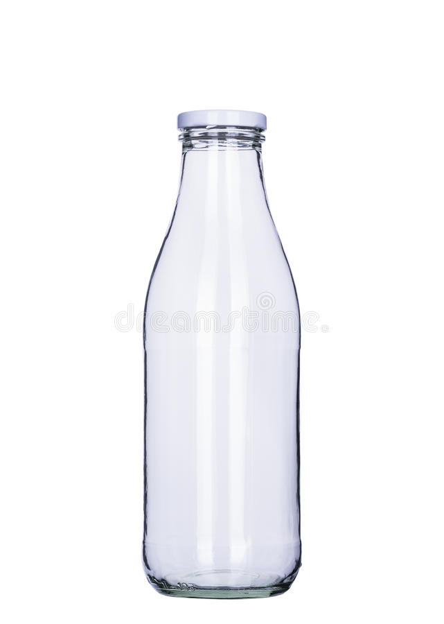 Bouteille à lait vide d'isolement, chemin de coupure inclus photographie stock