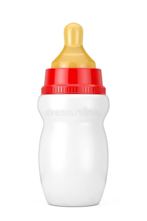 Bouteille à lait vide vide de bébé avec la moquerie de tétine  rendu 3d illustration de vecteur