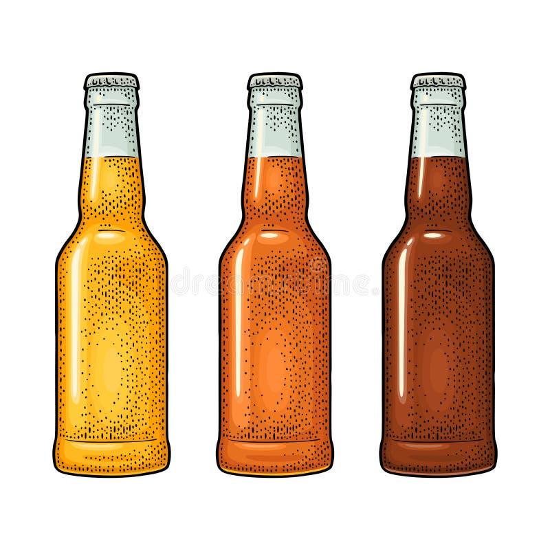 Bouteille étroite avec trois types bière Illustration de gravure de vecteur de couleur de vintage illustration de vecteur