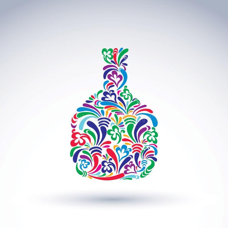Bouteille, alcool et concept fleur-modelés colorés de relaxation illustration libre de droits