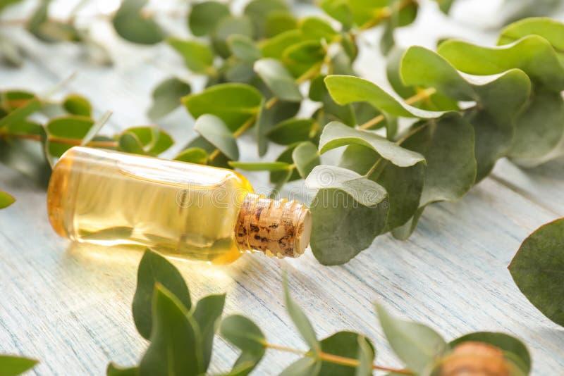 Bouteille avec des branches d'huile essentielle et d'eucalyptus sur la table en bois image stock