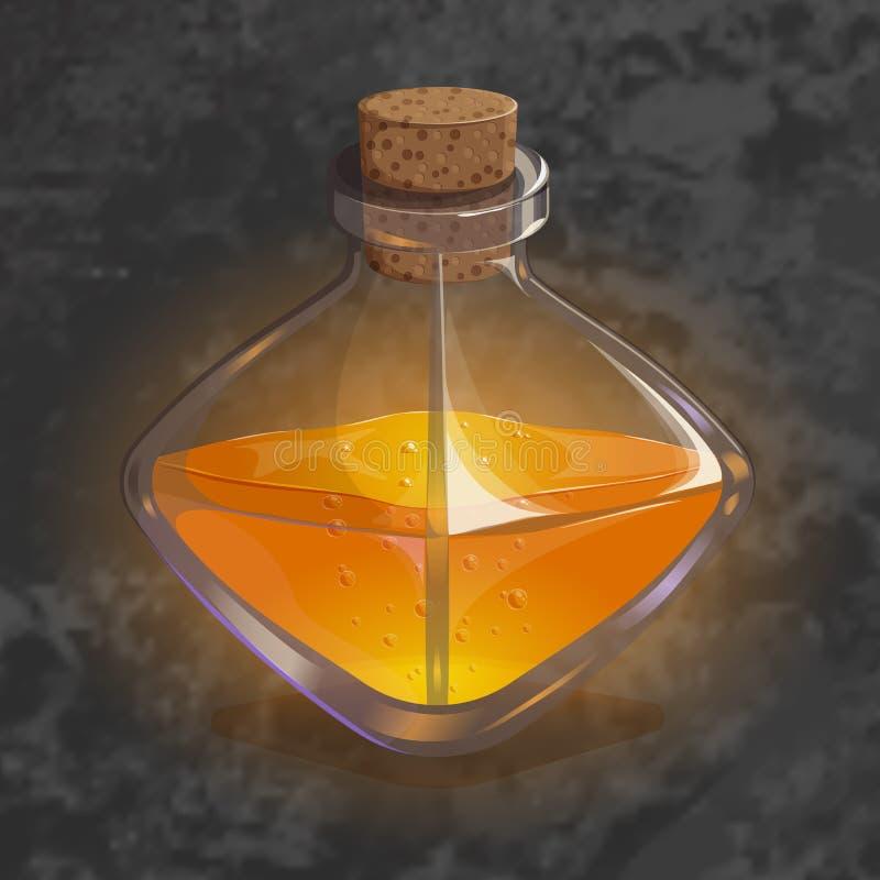 Bouteille avec le breuvage magique orange Icône de jeu d'élixir magique illustration stock