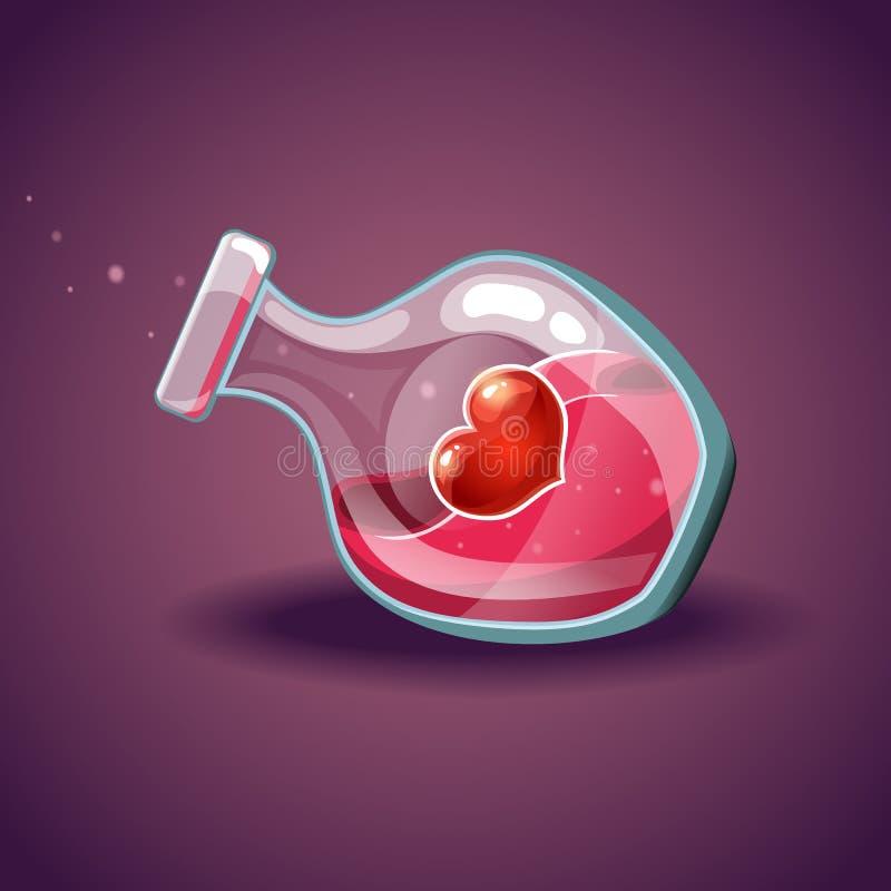 Bouteille avec le coeur, élixir magique illustration stock
