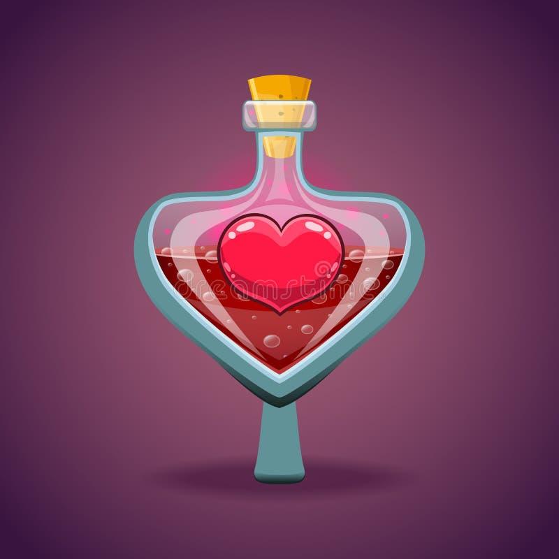 Bouteille avec le coeur, élixir magique illustration de vecteur