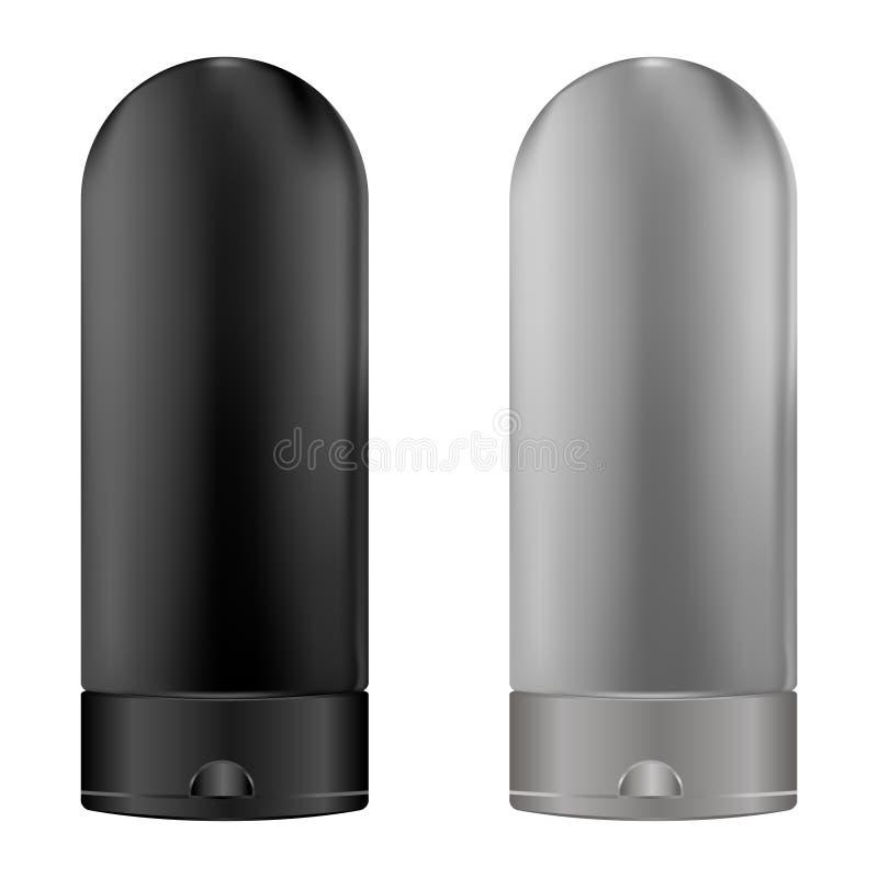 Bouteille basse faciale de cosmétique de jet de pompe de distributeur Paquet 3d réaliste avec le couvercle transparent pour diffé illustration libre de droits