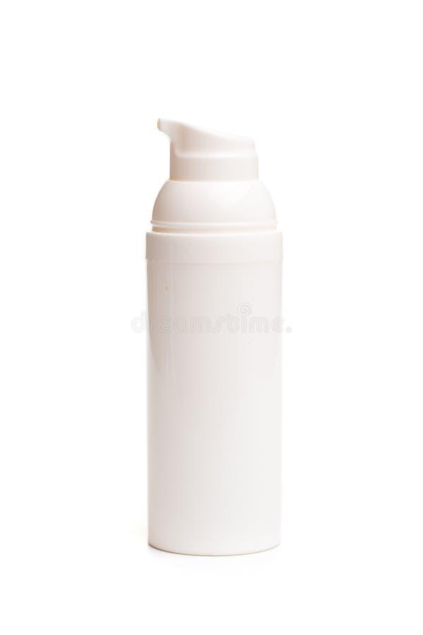 Bouteille blanche de distributeur d'isolement sur le fond d'image blanc photographie stock libre de droits