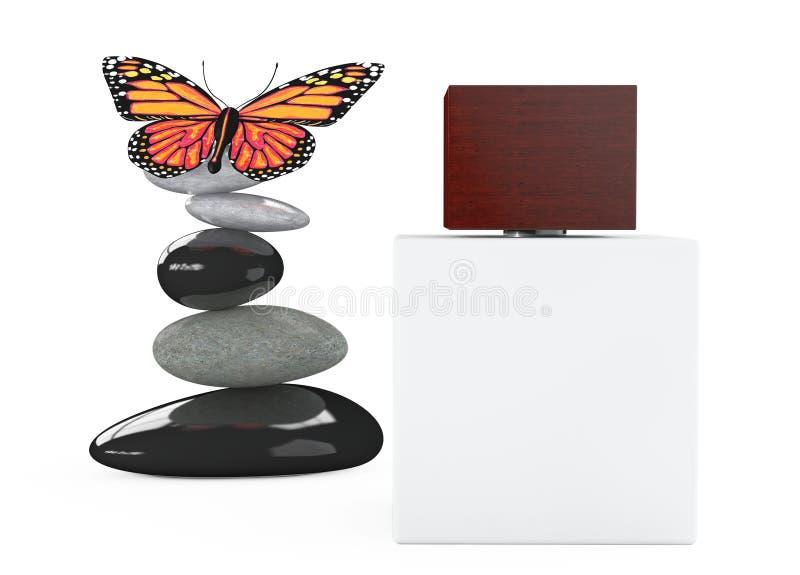 Bouteille blanche de jet de parfum avec le papillon au-dessus des pierres équilibrées photographie stock