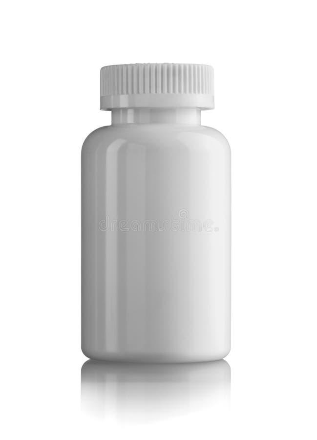 Bouteille blanche fermée de médecine photographie stock