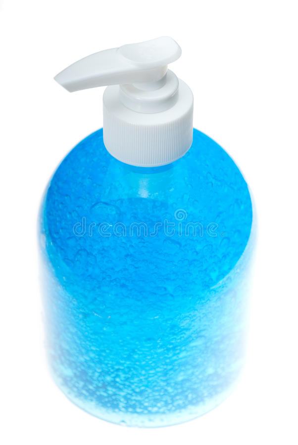 Bouteille bleue de gel de cheveu au-dessus de blanc photos libres de droits