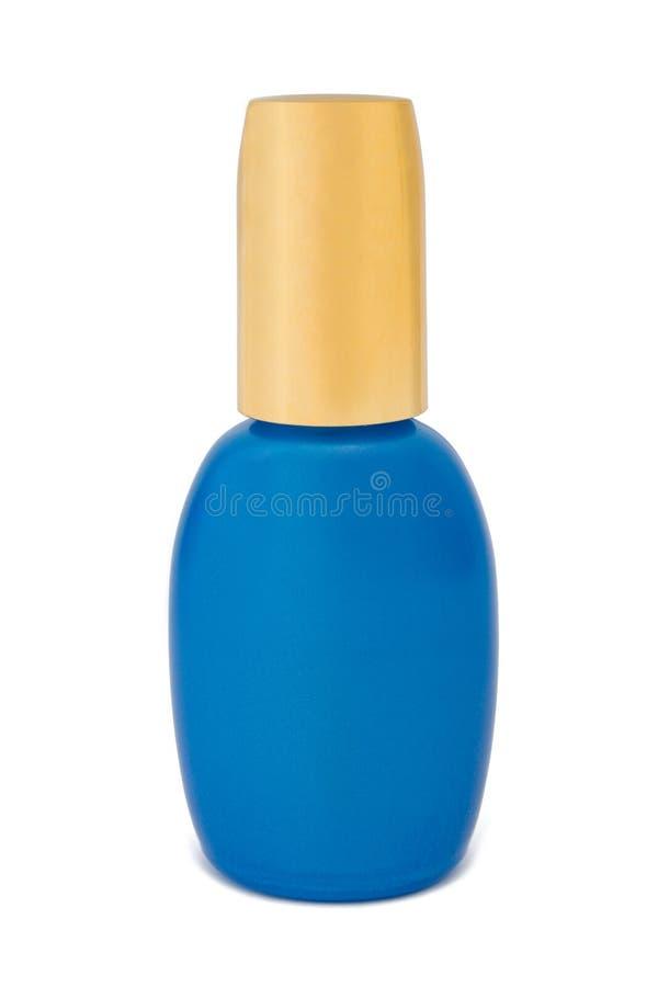 Bouteille bleue de produits de beauté images libres de droits