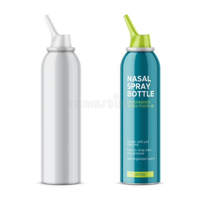 Bouteille brillante blanche de pulvérisation nasale illustration de vecteur
