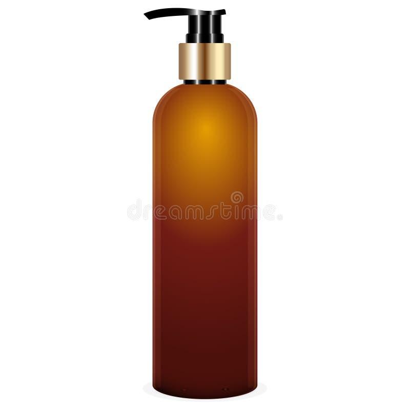 Bouteille brune réaliste avec la pompe de l'illustration de vecteur de savon liquide Bouteille cosmétique pour une crème, shampoo illustration de vecteur