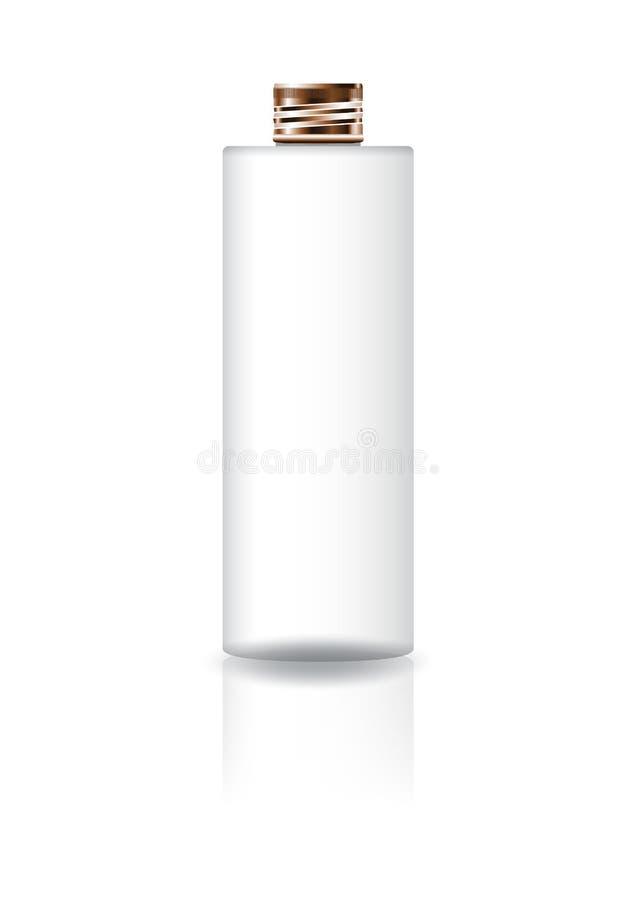 Bouteille cosmétique blanche vide de cylindre avec le couvercle de cuivre pour l'emballage de produit de beauté illustration libre de droits