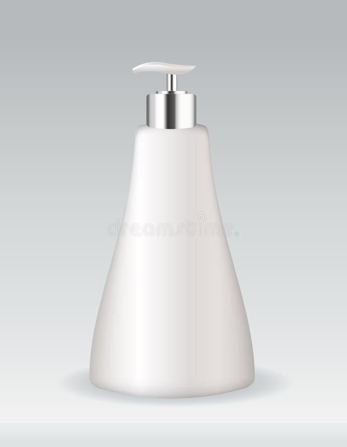 Bouteille cosmétique de conteneur pour le savon ou le gel illustration stock
