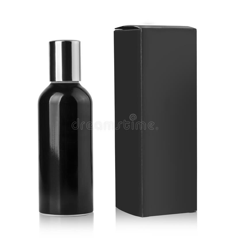 Bouteille cosmétique noire image libre de droits