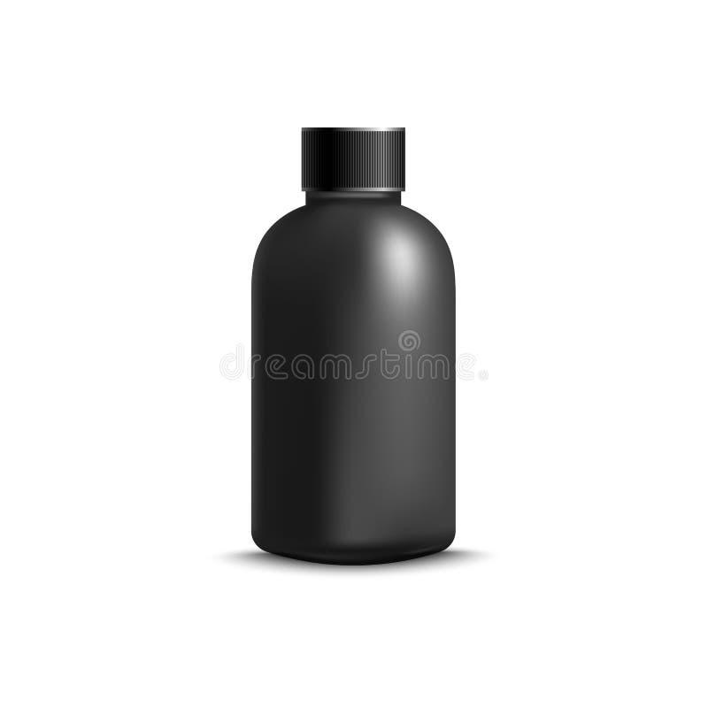 Bouteille cosmétique noire sans label - maquette réaliste sur le fond blanc illustration stock
