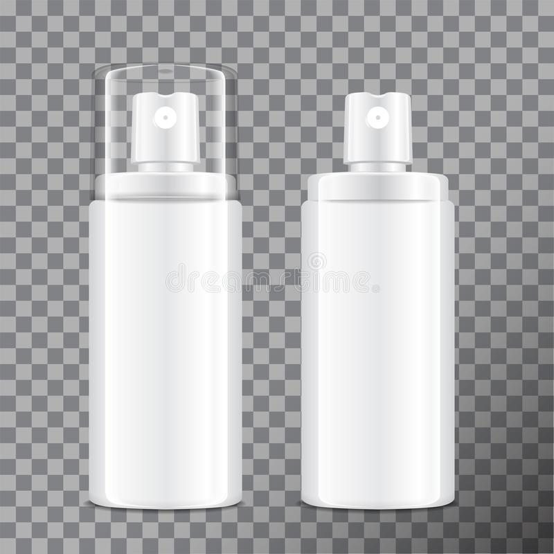 Bouteille cosmétique réaliste de jet Distributeur pour la crème, le baume et d'autres cosmétiques Avec le couvercle et en dehors  illustration libre de droits