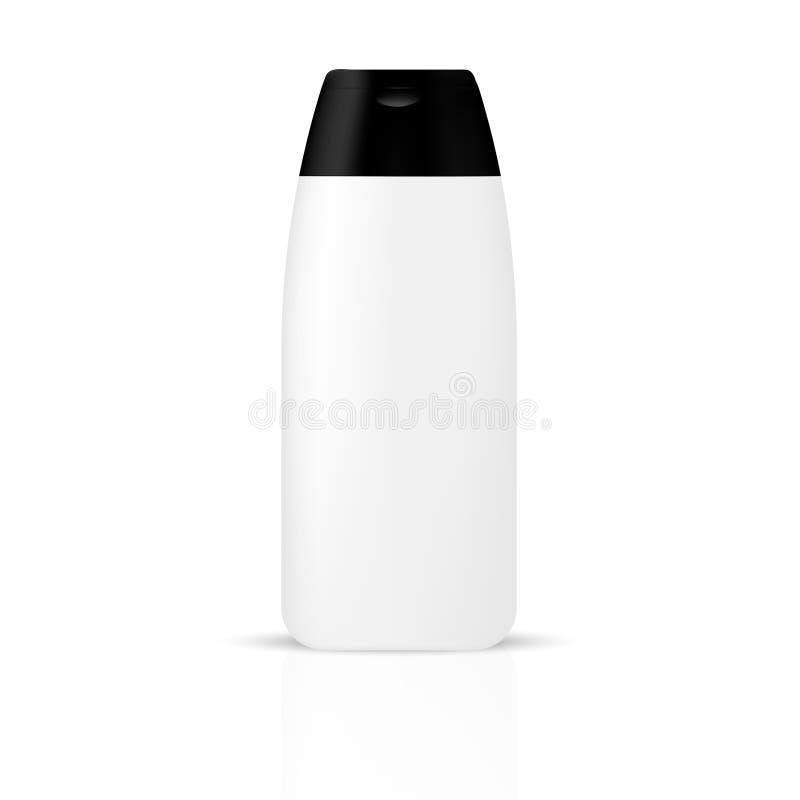 Bouteille cosmétique/récipient de beauté grise blanche avec le couvercle noir illustration stock
