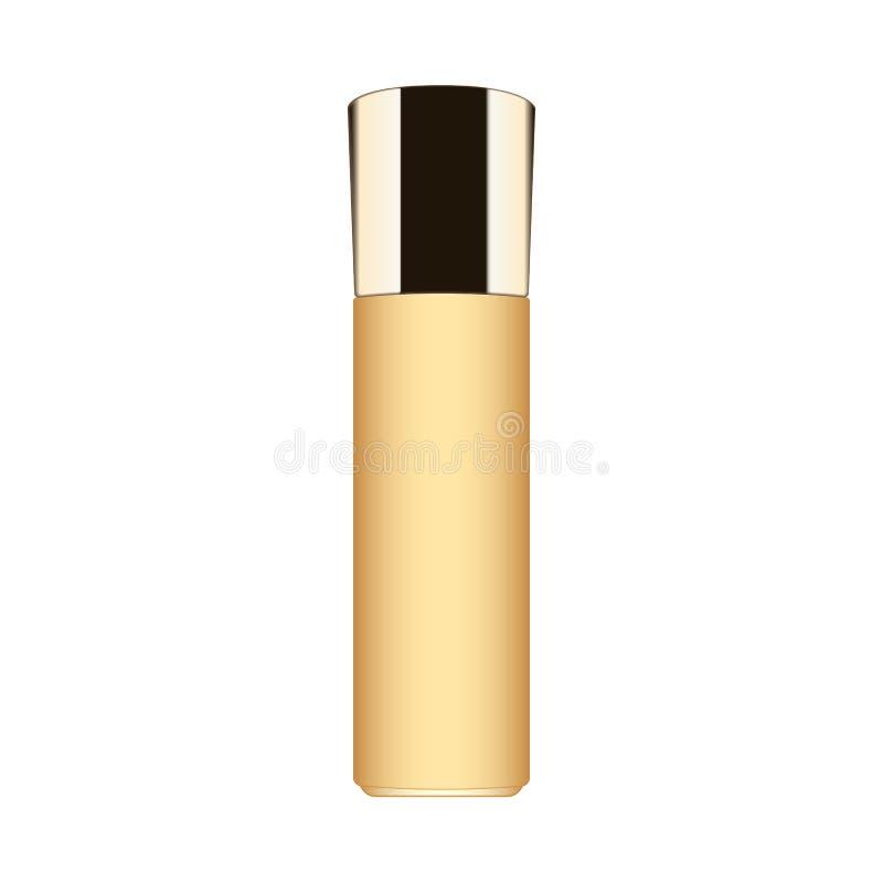 Bouteille crème de cosmétiques d'or sur le fond blanc illustration stock