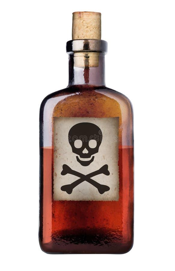 Bouteille démodée de poison. image stock