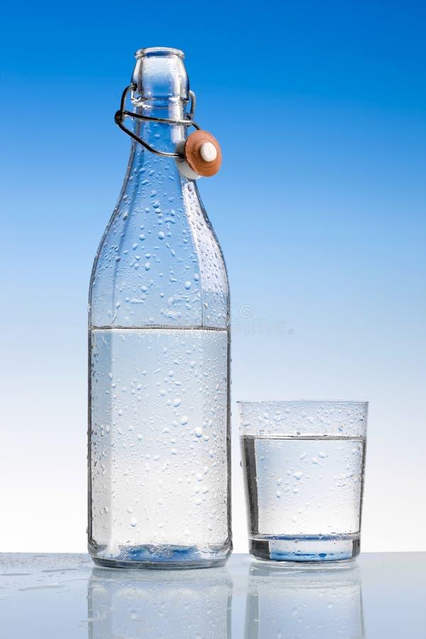 Bouteille d'eau avec la glace photographie stock libre de droits