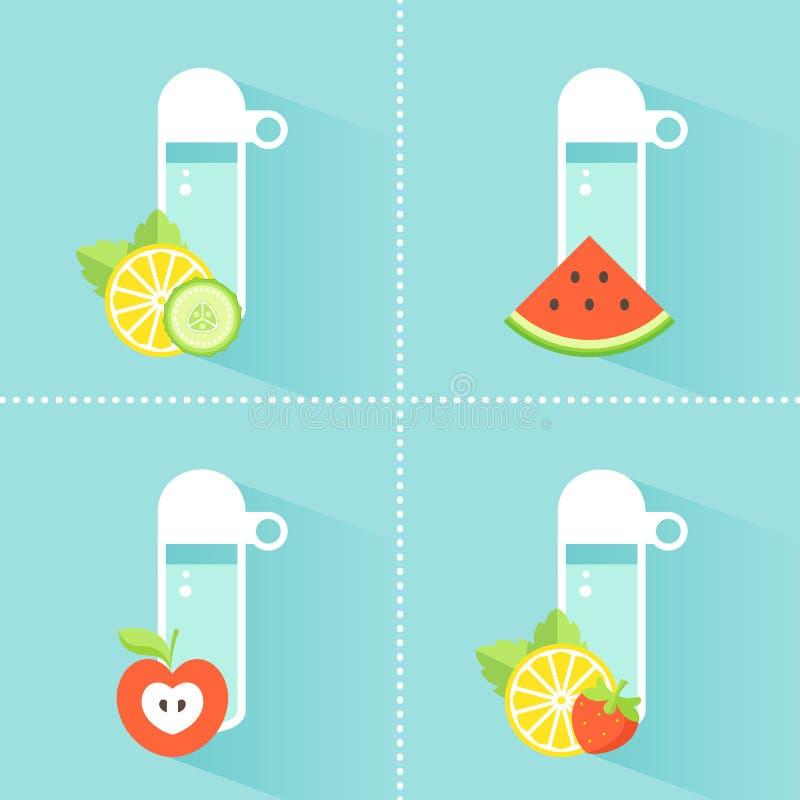 Bouteille d'eau de Detox avec des fruits et légumes illustration stock