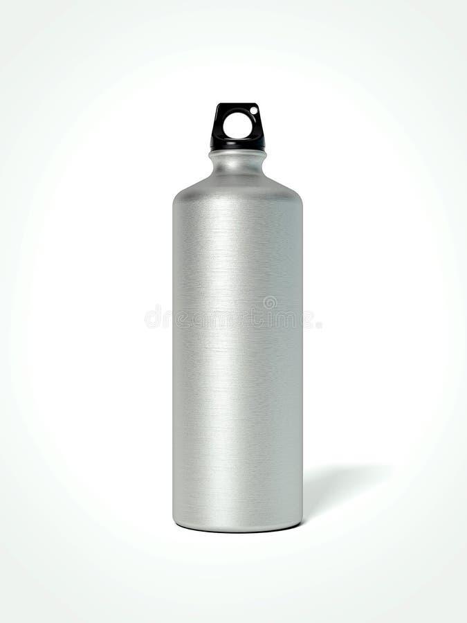 Bouteille d'eau en aluminium rendu 3d illustration stock