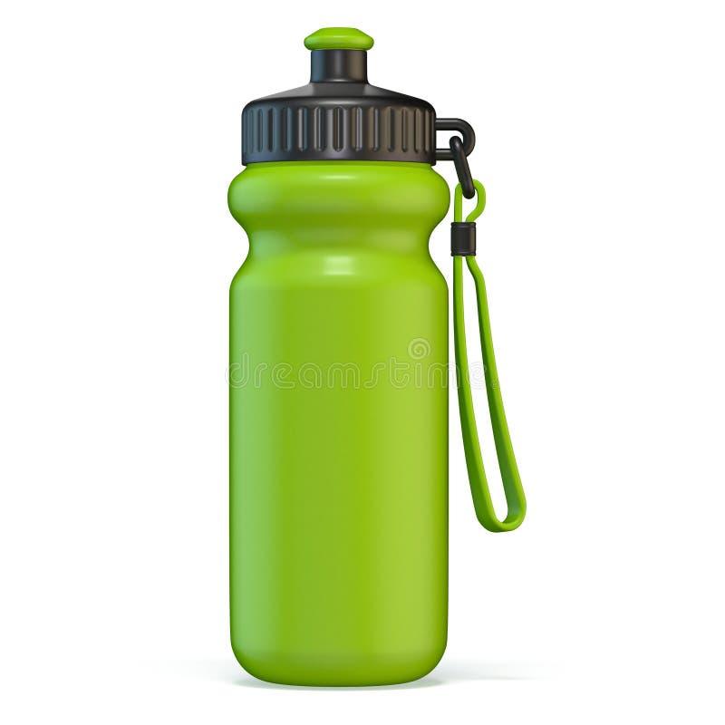 Bouteille d'eau en plastique de sport vert tenant 3D illustration de vecteur