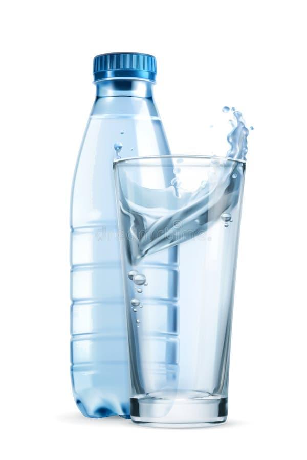 Bouteille d'eau et glace illustration de vecteur