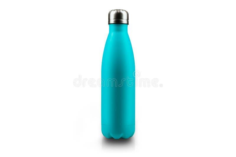 Bouteille d'eau inoxydable de thermos, d'isolement sur le fond blanc Couleur bleu-clair illustration stock